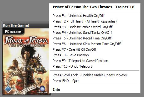 princeofpersiathetwothru Prince of Persia: The Two Thrones 1.0.0.188 +8 Trainer